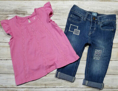 EUC Baby GAP sz 12-18 mo. Pink Lace A-Line Top~Floral Patch Denim Skinny Jeans