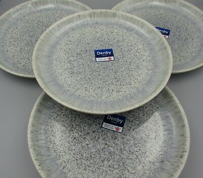 Denby China HALO Speckle Dinner Plates - Set of Four - New