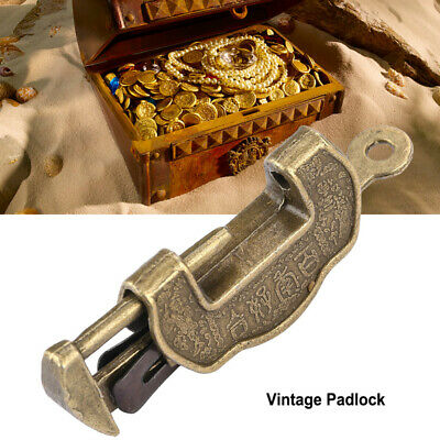 Chinese Vintage Key Padlock Mini Small Brass Lock for Jewelry Box Drawer Cabinet