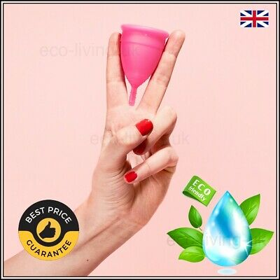 Reusable Menstrual Cup Female Period Soft Silicone Medical Small Large Pink UK