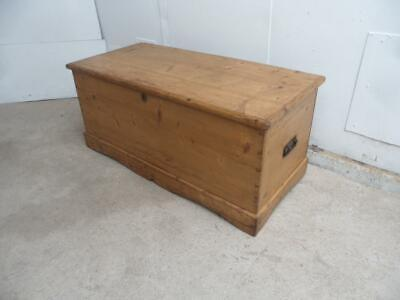 A Beautifully Waxed Large Victorian Antique/Old Pine Coffer Box/Coffee Table