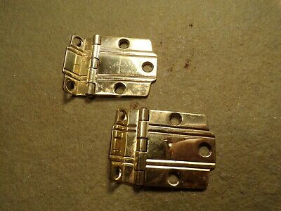 "Pair of Vintage Brass 3/8"" Offset Cabinet Hinges Deco Modern 30's 40's 50's"