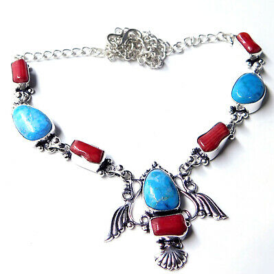 Natural Turquoise Coral 925 Sterling Silver Plated Jewellery Women Necklace 21g