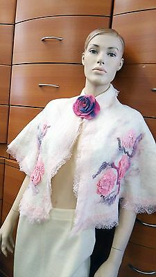 Felted Wool Wedding Cape With Brooch Floral Decor Bridal Wrap Gift For Women