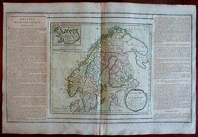 Scandinavia Sweden Norway Baltic Sea 1766 Iceland inset Brion Desnos map