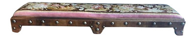 Antique Walnut and Brass Needlepoint Foot or Prayer Stool English