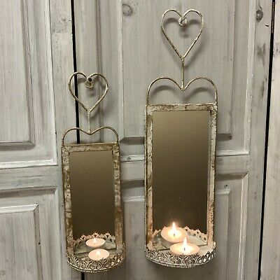 Metal Wall T Light Holder Candle Mirror Sconce Heart French Country Chic Shabby