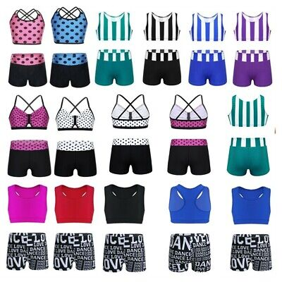 Girls Kids 2-Piece Set Dance Outfit Jazz Gym Sports Crop Top+Shorts Dancewear
