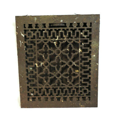 Antique Cast Iron Heating Grate Vent Register Ornate Design 14 X 12