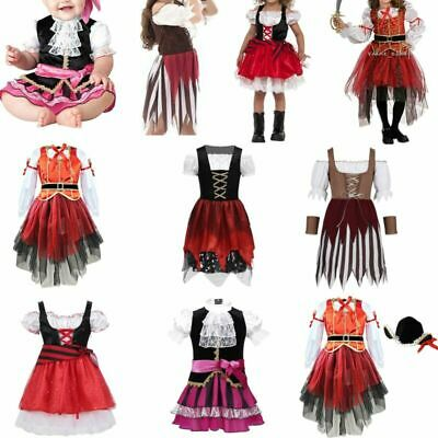 Pirate Girl Fancy Dress World Book Day Child Kids Halloween Party Costume Outfit