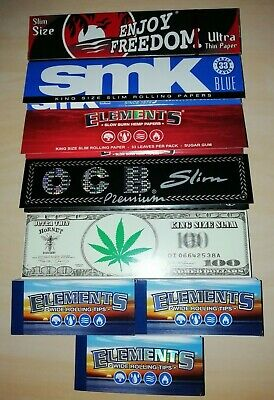 5 x King Size Mixed Rolling Papers & 3 x Elements Wide Roach Card Booklets!!