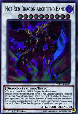 1X NM Hot Red Dragon Archfiend Bane - DUPO-EN058 - Ultra Rare 1st Ed EURO PRINT