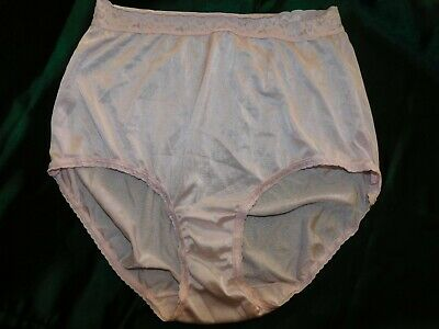 VTG STYLE SILKY NYLON PANTIES PANTY BRIEFS LACE WAIST KNICKERS Size 8 Pink