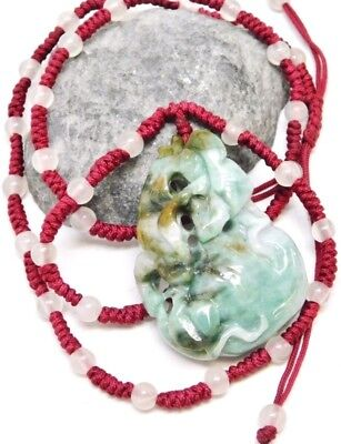 Chinese Carved Green Jade Squash Pendant Necklace
