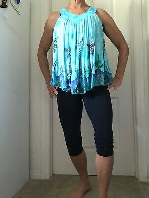 Womens Top One Size Fits Most Multi Color/Robin Egg Blue W/ Palm Tree Design