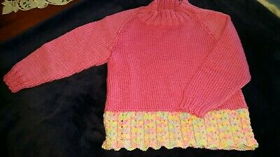 Gorgeous Bright Pink Jumper Trimmed With Multi Coloured Lacey Pattern Size 2