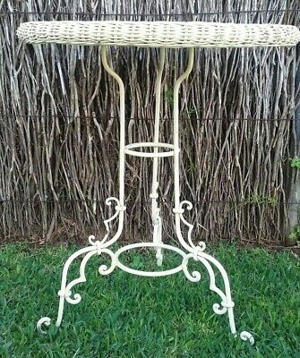 Vintage wrought iron french style cafe bistro patio coffee side cane top table