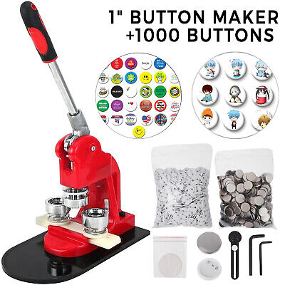 "1"" 25mm Button Maker Machine + 1000 Buttons Making Kit Punch Cutter AU Stock"