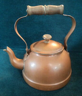 Copper Tea Pot Kettle From Portugal Tin Lined Goose Neck Wooden Handle & Knob
