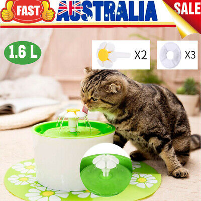 Cat Dogs Automatic Water Fountain Drinking Feeder Pet Bowl Dish Filter 1.6L