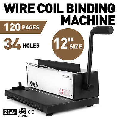 New 34Holes Punching Binding Machine All Steel Metal Spiral Coil Puncher Binder