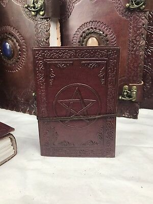Hand Made Leather Bound Book/Journal Natural Recycled Paper Pentagram 12.5 X 9cm