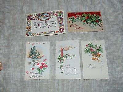 Antique Vintage Christmas Post Cards  Lot of 5 Early 1900's