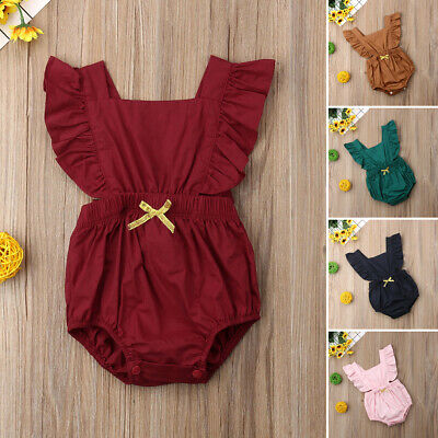 Newborn Baby Girl Ruffle Romper Bodysuit Summer Jumpsuit Sunsuit Outfits Clothes