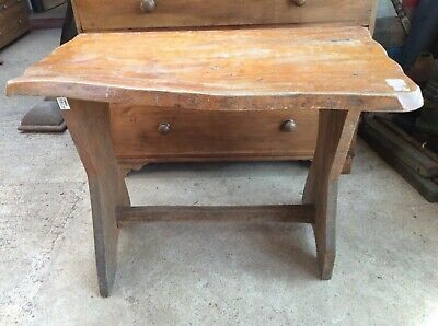 "37"" By 21"" Interesting Old Elm Waney Edge Rustic Side Dining Table"
