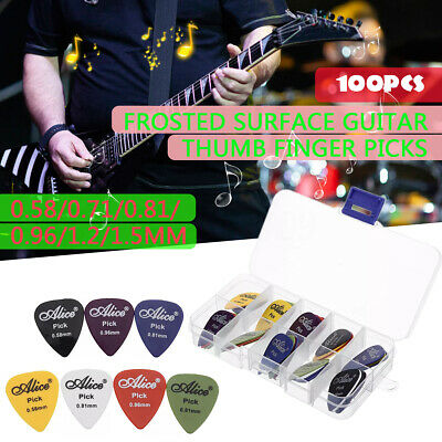 100Pcs Acoustic Electric Bass Guitar Picks Plectrums Various 6 thickness Kit Set
