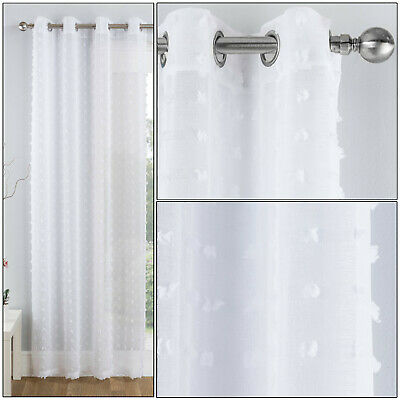 White Pom Pom Bali Textured Sheer Voile Net Curtain Eyelet Ring Top Single Panel