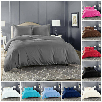 Plain Dyed Duvet Cover Quilt Set with Pillowcase Single Double King S.King Size