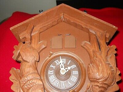 Vintage Thorens Movement Hunter Cuckoo Clock from Switzerland PARTS ONLY WOOD