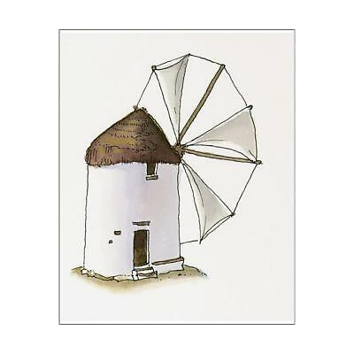 "13551435 10""x8"" (25x20cm) Print Illustration of thatched windmill..."