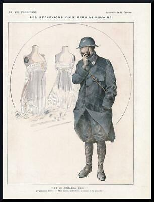 1916 ORIGINAL FRENCH VINTAGE PRINT Lingerie / French Soldier / WW1 LEONNEC 2268