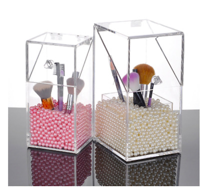 Cosmetic Storage Clear Box Makeup Brushes Organizer Lipstick Holder Pearls