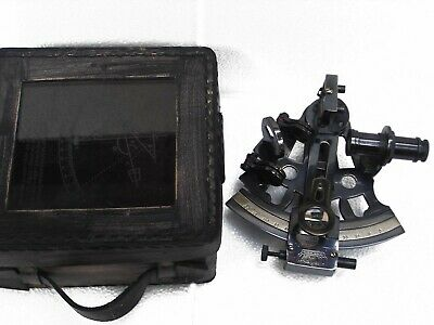 Antique Collectible Nautical Brass Working German Black Sextant w/ Leather Box