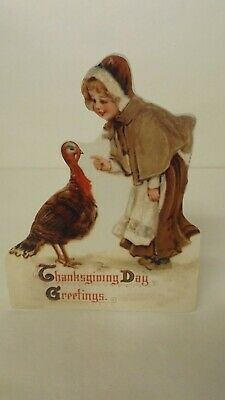 Bethany Lowe Thanksgiving Dummy Board Pilgrim Girl Talking To Turkey RL9183 New