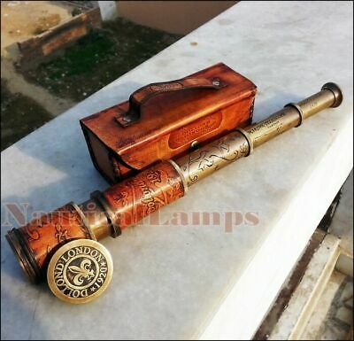 Antique Brass Marine Telescope Nautical Leather Pirate Spyglass Vintage Scope