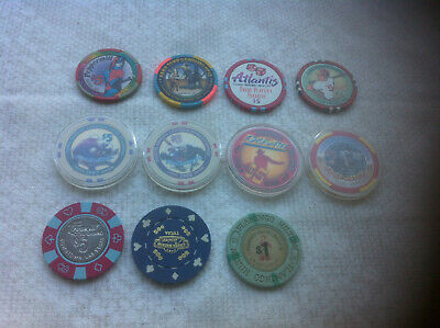 Mixed Lot of 11 Hotel and Cruise Ship Casino Gaming Tokens/Chips, $5, $1 & $.50.