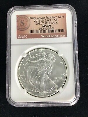 2013 (S) $1 NGC MS69 (Mint State, BU) ASE American Silver Eagle Early Releases