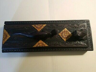 Oriental Ornate Hand Carved Dark Wood Box w/ 8 Chopsticks Lizard and Frog