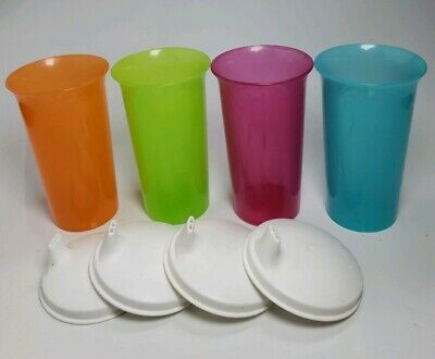 Tupperware 10.5 oz Bell Tumblers & Domed Sippy Sipper Lids Seals New Pink Blue