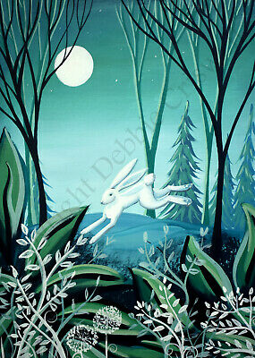 Giclee ACEO 2.5x3.5 art print WHIMSICAL WHITE RABBIT whimsy landscape forest DC