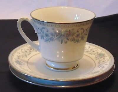Noritake Blue Hill 2482 Footed Cup and Saucer - 1 Cup, 2 Saucers
