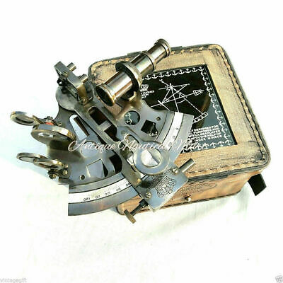 Solid Brass Handmade Sextant With Leather Case-Marine Gift-Astrolabe Handmade
