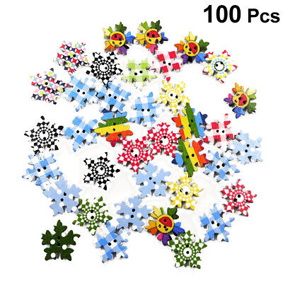 100PCS Creative Printing Colourful Two-hole Wooden Fastener for Women DIY Crafts