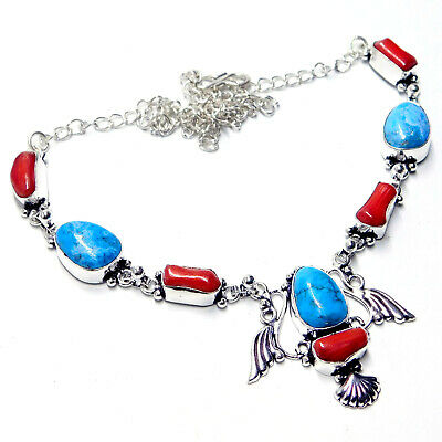 Turquoise Coral 925 Sterling Silver Plated Handmade Jewelry Necklace 20 Gm