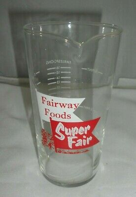 Vtg Fairway Foods Super Fair Advertising Glass Measuring Cup Spout Grocery Store