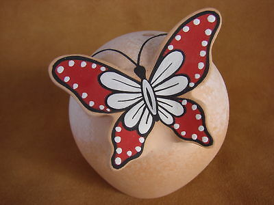 Native American Handmade Clay Butterfly Seed Pot by Tony Lorenzo! Zuni Pueblo